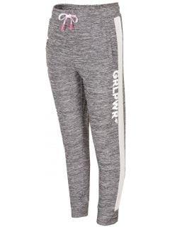Sportovní kalhoty pro mladší holky JSPDTR300 - SVĚTLE ŠEDÁ