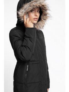 Dámský péřový kabát KUDP12 - hluboce černý