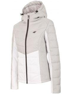 Dámská péřová bunda KUD007 - chladný světle šedý melír