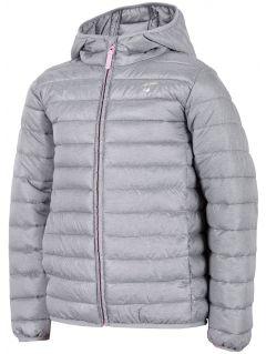 Dívčí péřová bunda (122-164) JKUDP200 - šedý melír