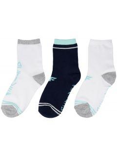 Dívčí ponožky (30-38) JSOD204 - šedý melír+tmavě modré+bílé