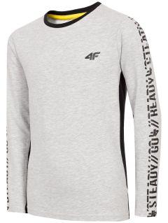 Chlapecké tričko s dlouhými rukávy (122-164) JTSML201 - šedý melír