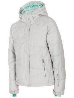 Lyžařská bunda pro starší děti (holky) JKUDN400 - šedý melír