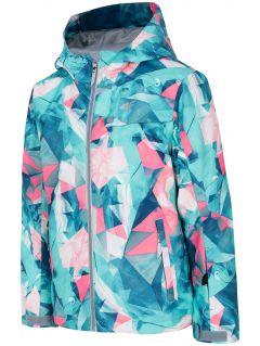 Lyžařská bunda pro starší děti (holky) JKUDN401A - mátová allover