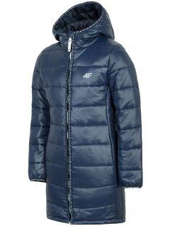 Péřová bunda pro starší děti (holky) JKUDP203A – tmavě modrá