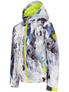 Lyžařská bunda pro mladší děti (kluky) JKUMN303 - allover černá-bílá