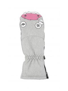 Lyžařské rukavice pro mladší děti (holky) JRED300 - chladný světle šedý melír