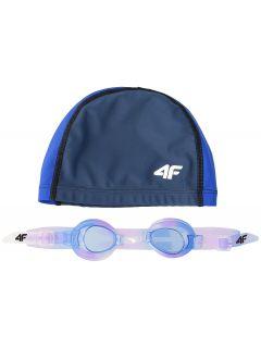 Koupací čepice + plavecké brýle pro starší děti (holky) JSETD400 – tmavě modré