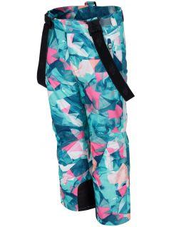 Lyžařské kalhoty pro starší děti (holky) JSPDN402 - mátové allover