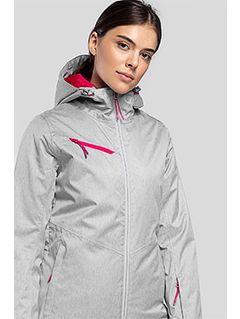 Dámská lyžařská bunda KUDN302 - chladný světle šedý melír