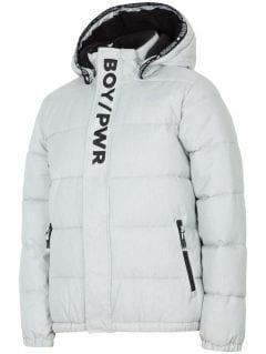 Péřová bunda pro starší děti (kluky) JKUM202 - šedý melír