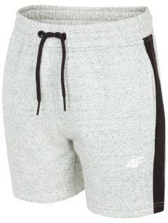 Teplákové šortky pro starší děti (kluky) JSKMD200 - teplý světle šedý melír