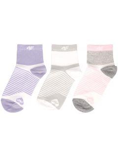 Ponožky pro starší děti (holky) JSOD400 - světle fialové+bílé+šedý melír