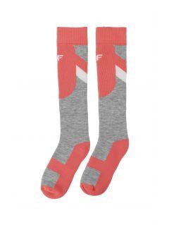 Lyžařské ponožky pro starší děti (holky) JSODN400 - neonově korálové