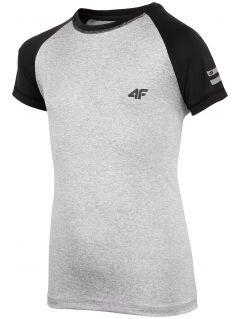 Sportovní tričko pro starší děti (kluky) JTSM400 - chladný světle šedý melír