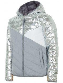 Péřová bunda pro starší děti (holky) JKUDP202 – stříbrná
