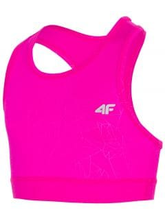 Sportovní podprsenka pro starší děti (holky) JTOPD400- tmavě růžová
