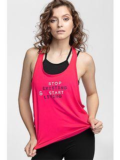 Dámské tréninkové tričko bez rukávů TSDF108 - červená